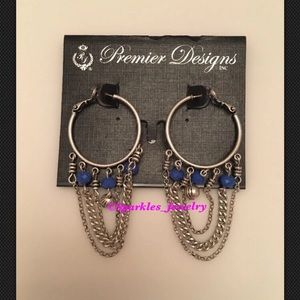 "Premier Designs ""Jess"" Antique Blue Beads Earrings"